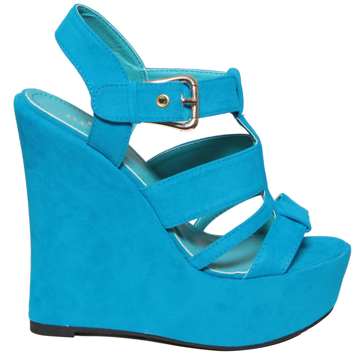 Blue Cut Out Buckle Wedge Shoe Preview